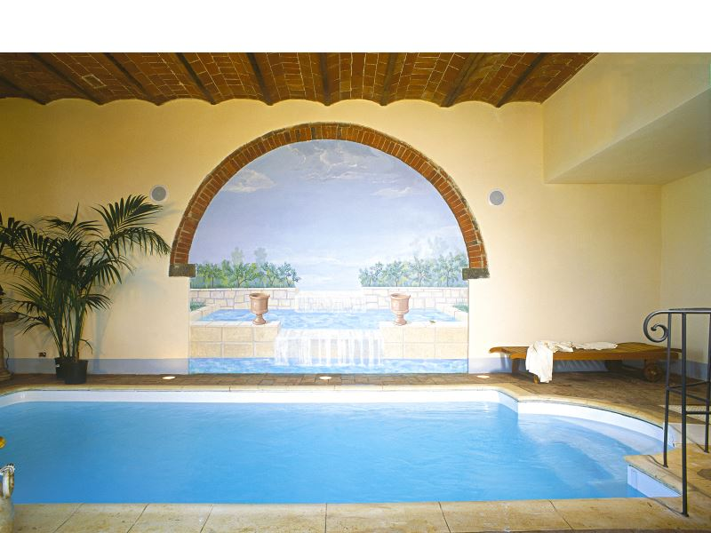 Indoor heated pool at Villa de Michelangioli